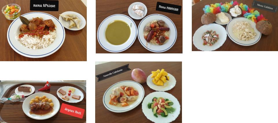 Exemples de repas de la cantine de Nogent-sur-Eure